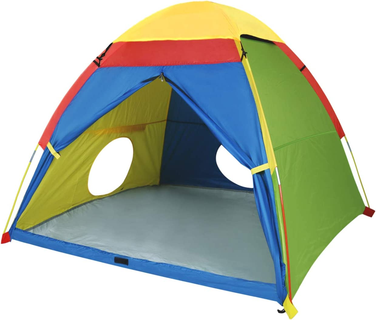 """MountRhino Kids Play Tent & Playhouse,Kids Pop Up Tent, Children Camping Playhouse, Indoor/Outdoor Children Playhouse for Boys Girls, Large Space& Rainbow Color – 60""""x60""""x47"""" (Large Space)"""