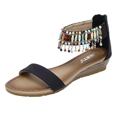 1914722d3ab Women Low Heels Wedges Sandals Fashion Summer Roman Bohemian Comfortable  Casual Work Shoes Black