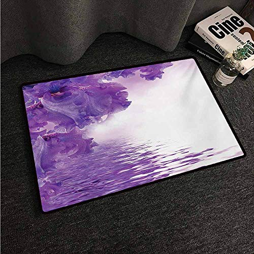HCCJLCKS Waterproof Door mat Flower Iris Flowers Petals Against The Water River Mystical Magical Fairy Nature Image Machine wash/Non-Slip W31 xL47 Violet White