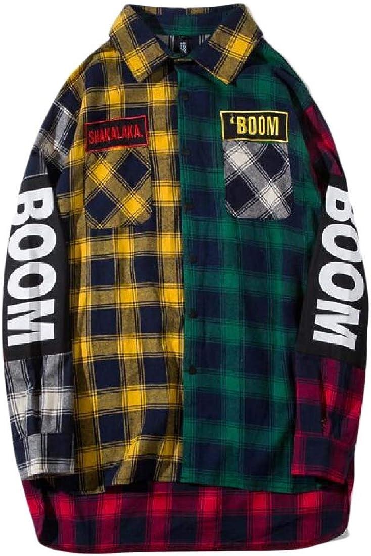 Cromoncent Mens Hip Hop Plaid Long-Sleeve Button-Down Letters Print Shirts