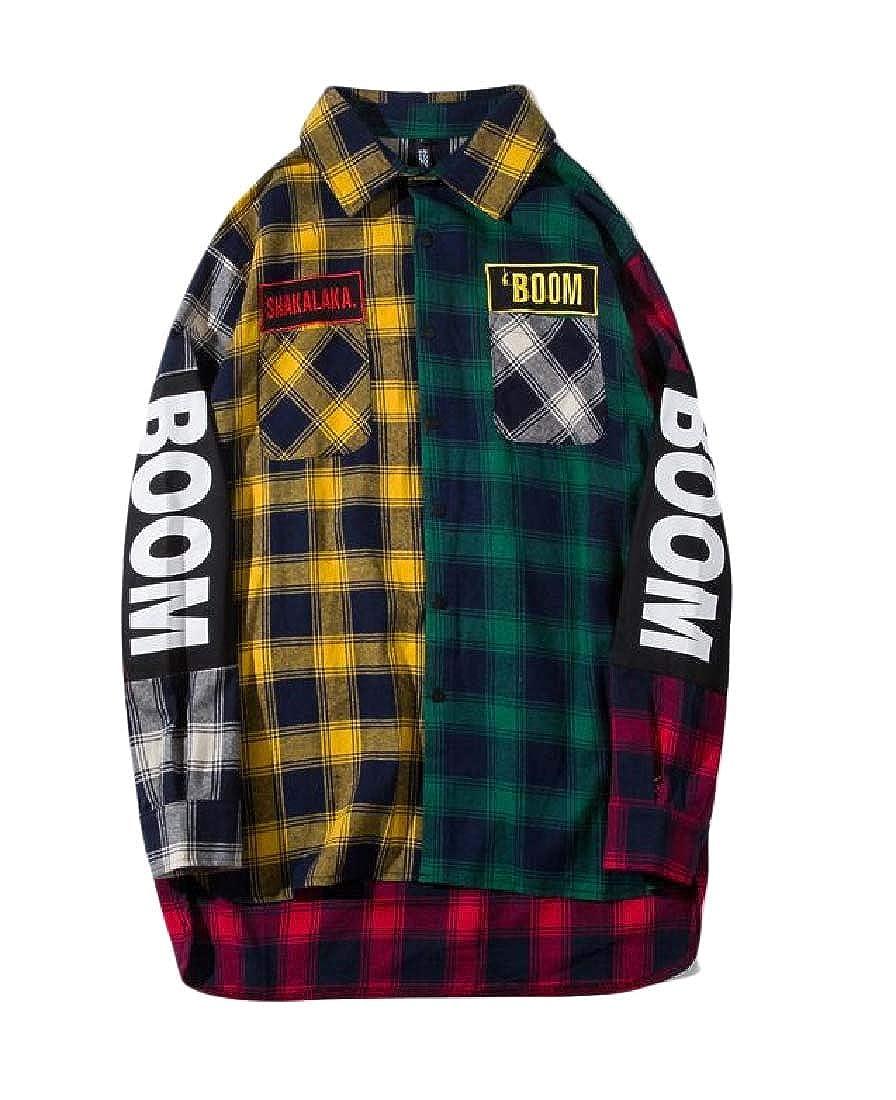 Etecredpow Mens Plaid Letters Print Long-Sleeve Button-Down Shirts