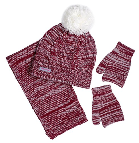 Hat Kids Red Gloves (Sportoli Girls' Kids Cable Knit Cold Weather Accessory Set Warm Pull On Hat Scarf and Gloves (Maroon / White))