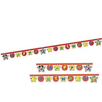 Mickey Mouse Feliz Cumpleaños Guirnalda | Bandera 2,1 m ...