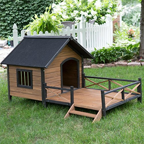 Dog House for Large Dogs with Porch Deck Outdoor Pet Puppy Shelter Kennel, Raised Floor Panel, Solid Fir Wood All Weather Big Doghouse (Dog Deck)