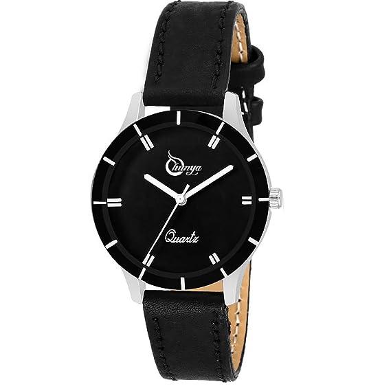 Bhakti Fashion Black 605 Simple Black Leather Wrist Watch for Girls