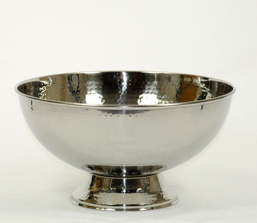 Hammered Stainless Steel Shiny Fruit and Punch Bowl