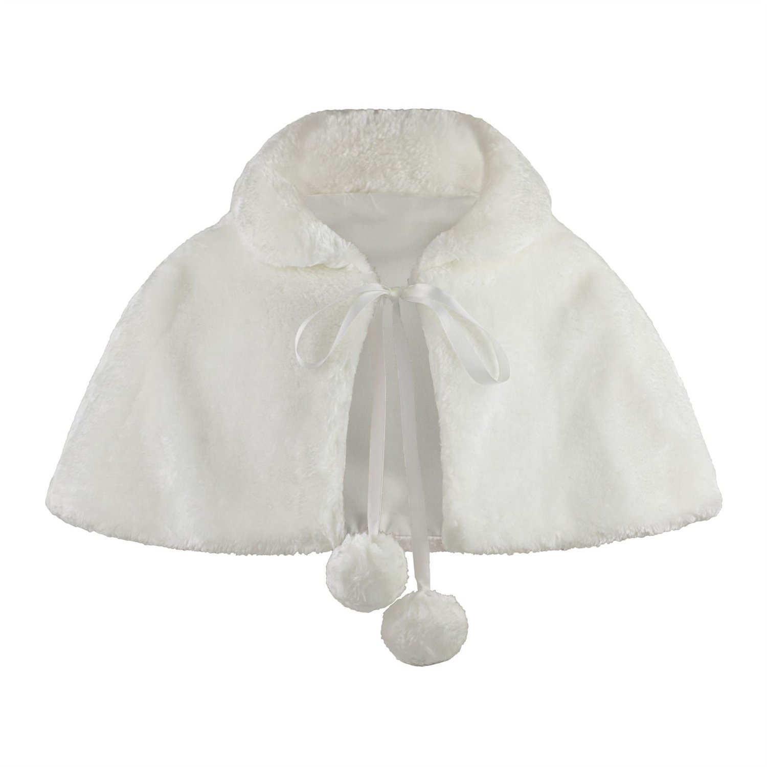 Flower Girl Faux Fur Wraps Cape Kids Wedding First Communion C3 (XL, Off White/light Ivory)