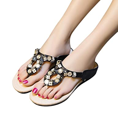 8d4aaf7c76a Amazon.com  BSGSH Flat Thong Sandals - Casual Flower Rhinestone Flip Flops  for Ladies Women Teens Girls  Clothing