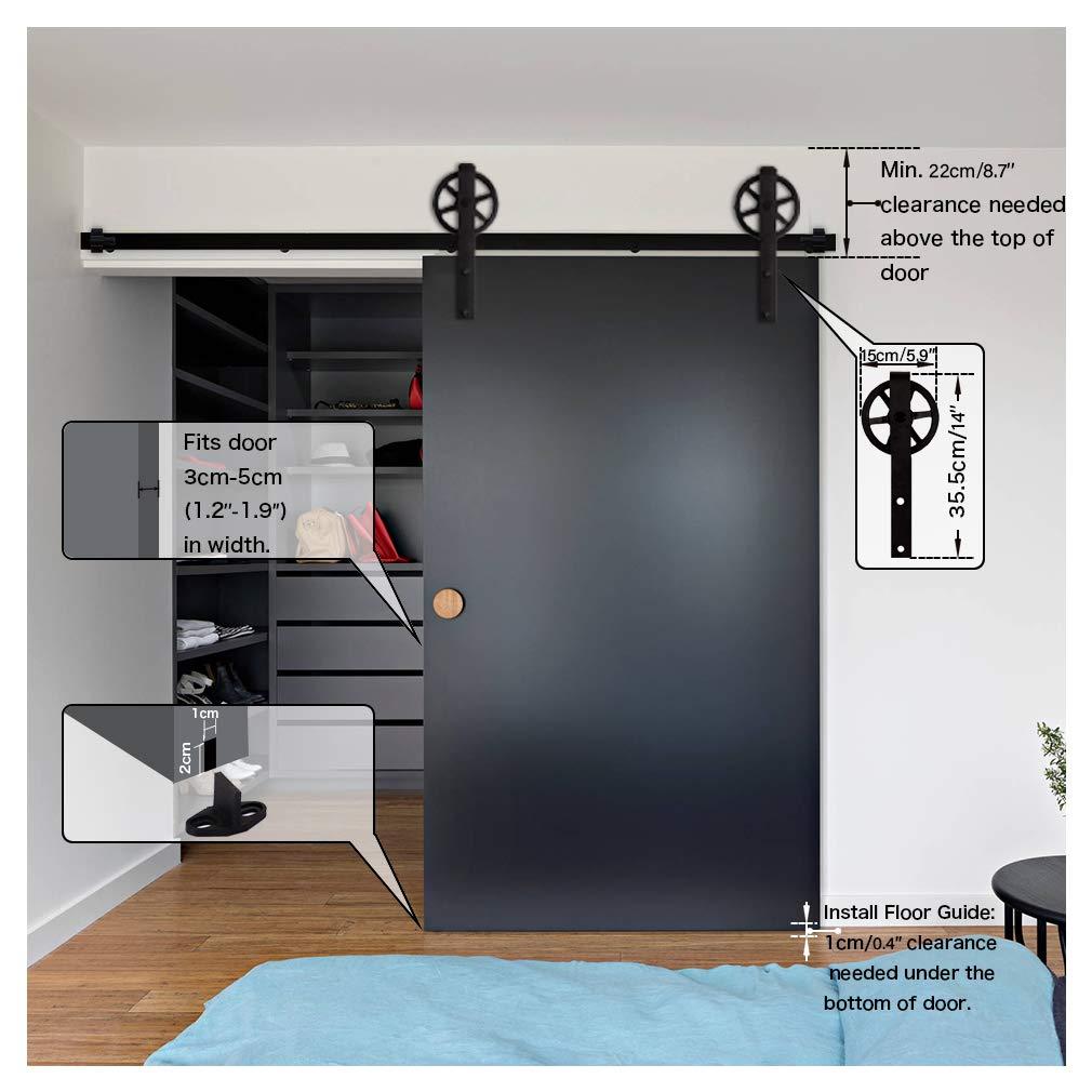 CCJH 6.6FT-200cm Herraje para Puerta Corredera Kit de Accesorios para Puertas Correderas Rueda Riel Juego para Una Puerta de Madera: Amazon.es: Bricolaje y ...