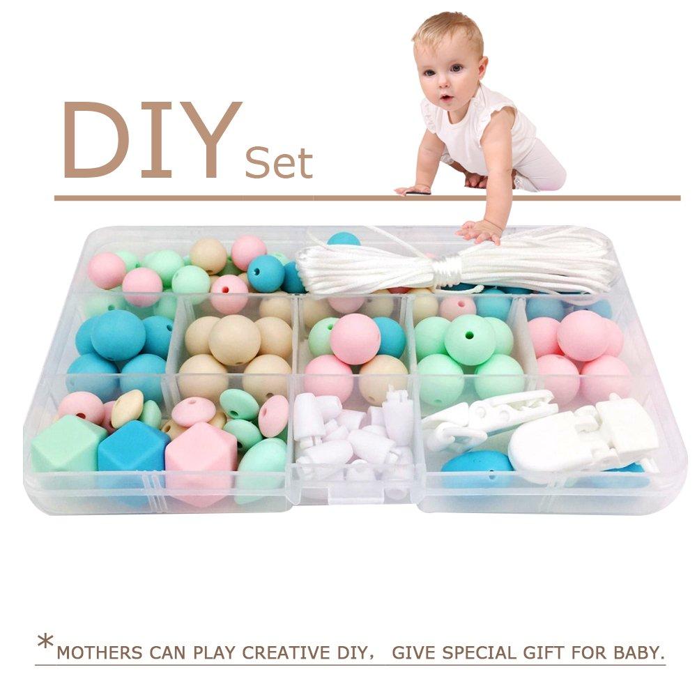 Best for baby Cuentas octogonales de silicona Bola redonda Baby Teether Clip de chupete Set DIY Pulsera Collar Juguete Monterey