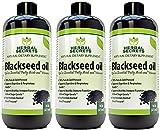 Herbal Secrets Black Seed Oil Natural Dietary Supplement - Cold Pressed Black Cumin Seed Oil from 100% Genuine Nigella Sativa - 16 oz Bottle (3 Pack)