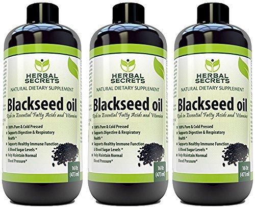 Herbal Secrets Black Seed Oil Natural Dietary Supplement - Cold Pressed Black Cumin Seed Oil from 100% Genuine Nigella Sativa - 16 oz Bottle (3 - Cold Herbal Pack