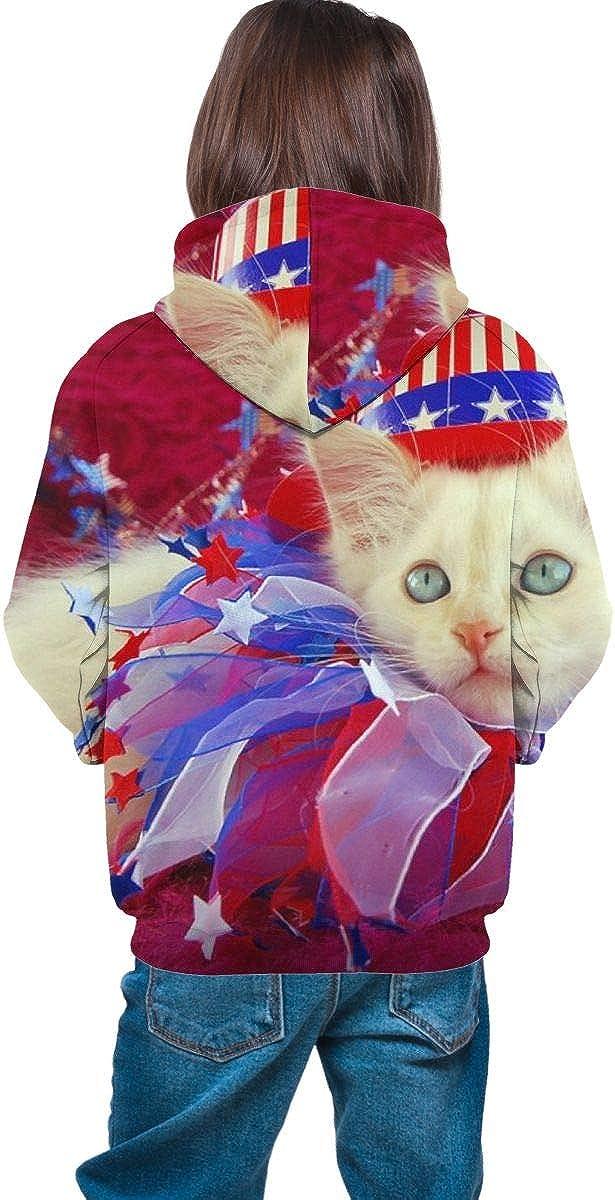 The Mountain Patriotic Kitten2 Unisex Pullover Teens Hoodie Hooded Sweatshirt Colorful