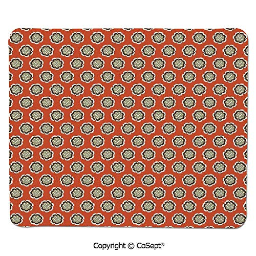 Mouse Pad,Floral with Warm Color Palette Flowers and Retro Dots Surreal Art Decorative,for Computer,Laptop,Home,Office & Travel(15.74