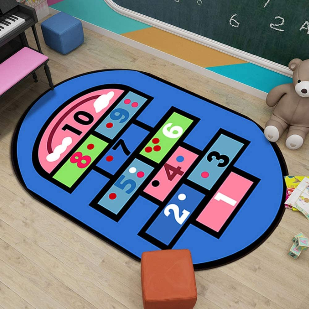 Large Carpet Vibrant Alphabet Play Mat Multiple Patterns JIFAN Educational Kids Area Rugs Children Learning Rugs with ABC Numbers Shapes for Children Bedroom Living Room Nursery Classroom