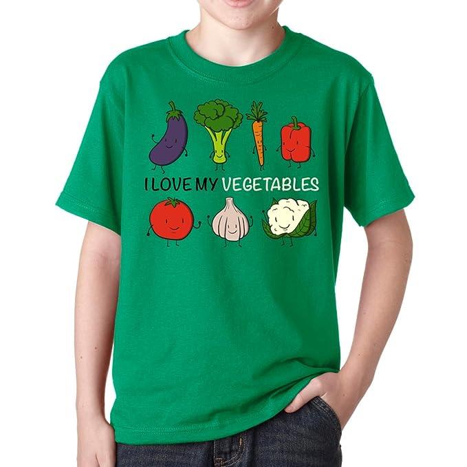 40831acb46e91 Amazon.com: I Love My Vegetables Boys T-Shirt Youth Kids: Clothing