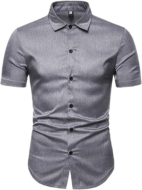 qulvyushangmaobu Camisa de Manga Corta para Hombre Casual ...