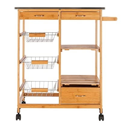 Amazon Com Leadzm Portable Rolling Kitchen Trolley Cart Island