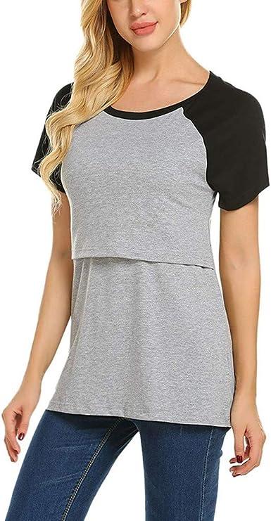 Mitlfuny Camiseta de Lactancia Maternidad a Rayas Chaleco Camisa Mujer Blusa Camiseta de Maternidad para Mujeres de Maternidad, Manga Corta, Tops para amamantar: Amazon.es: Ropa y accesorios