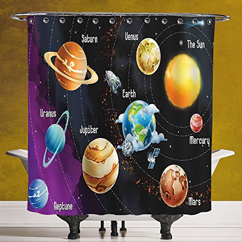 Stylish Shower Curtain 3.0 by SCOCICI [ Outer Space Decor,Solar System of Planets Milk Way Neptune Venus Mercury Sphere Horizontal Illustration,Multi ] Fabric Shower Curtain by SCOCICI