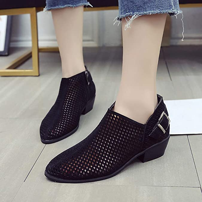 Amazon.com | Rakkiss Women Shoes Ponited Toe Shoes Solid Boot Buckle Strap Shoes Square Heel Boot Single Shoes Black | Shoes