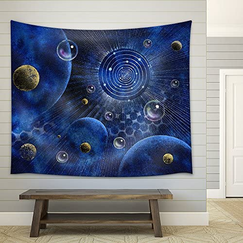 Picture Painted Showing a Corona Like Structure Planets and Bubbles in Blue Spacy Back Fabric Wall