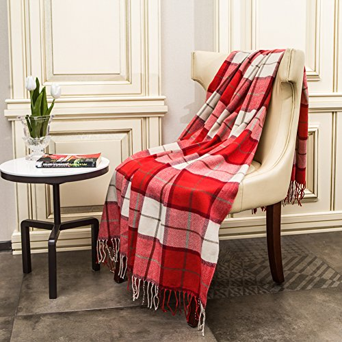 Reversible Acrylic - G Lake Red and White Plaid Blanket Throw Acrylic Soft Reversible Dyed Fringed Bed Blanket for Christmas Indoor Decorations 50