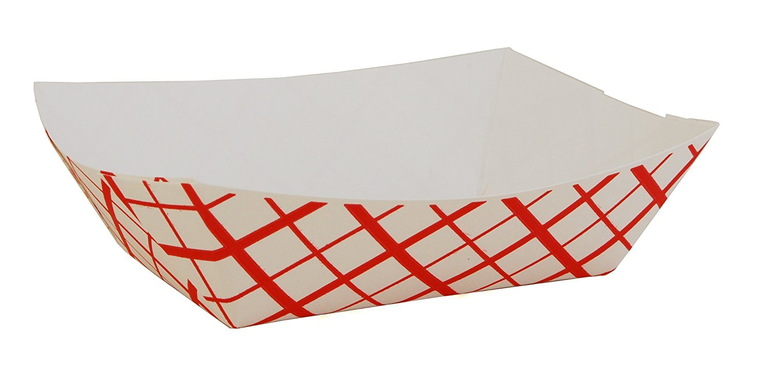 Southern Champion Paperboard Check Food Tray, 1 lb. Capacity, Red (Pack of 100)
