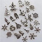 CAHEDSD 30Pcs Metal Charms Pendants Santa Claus Snowflake Bells Deer Snowman Christmas Decorations for Home Tree Hanging Ornaments