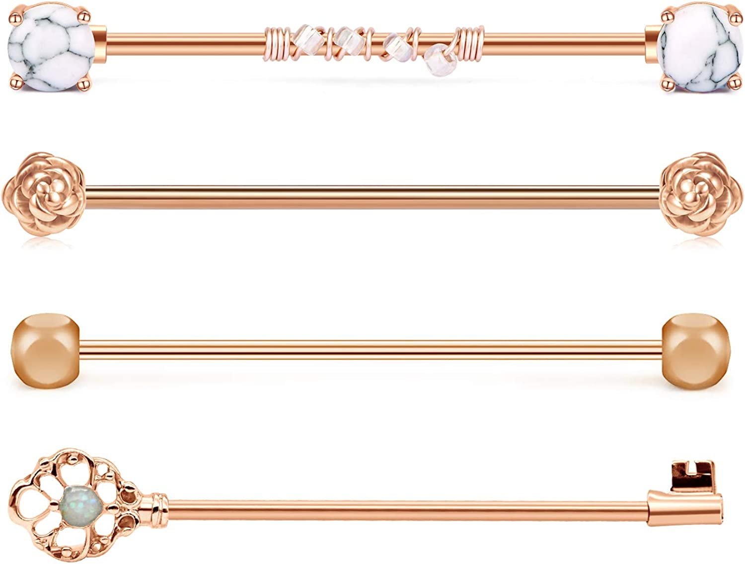 JFORYOU 3-4 Pcs 14G Industrial Barbell Surgical Steel Industrial Piercing Barbell with Marble Stone Opal CZ Rose Key Style