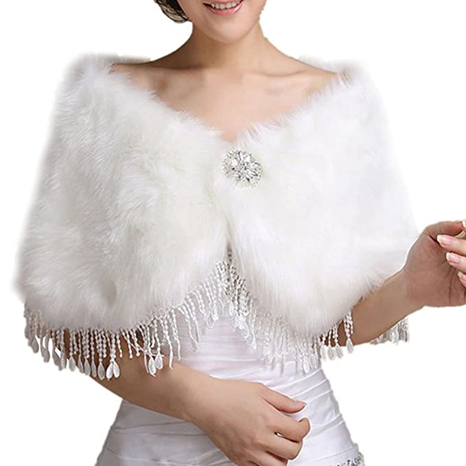 Insun Faux Fur boda Chal de abrigo perfecto para boda fiesta Blanco