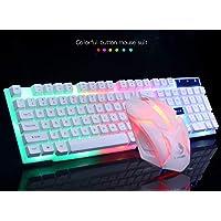 Cimaybo Juego de ratón limeide GTX300 Gaming Keyboard Colorido LED Iluminado Retroiluminado USB PC con Cable Teclado Rainbow (Blanco)