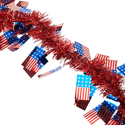 Amscan Patriotic Fourth of July Party American Flag and Boa Tinsel Garland Decoration, Foil, 15 Feet Childrens (6 Piece) - Patriotic Tinsel Garland