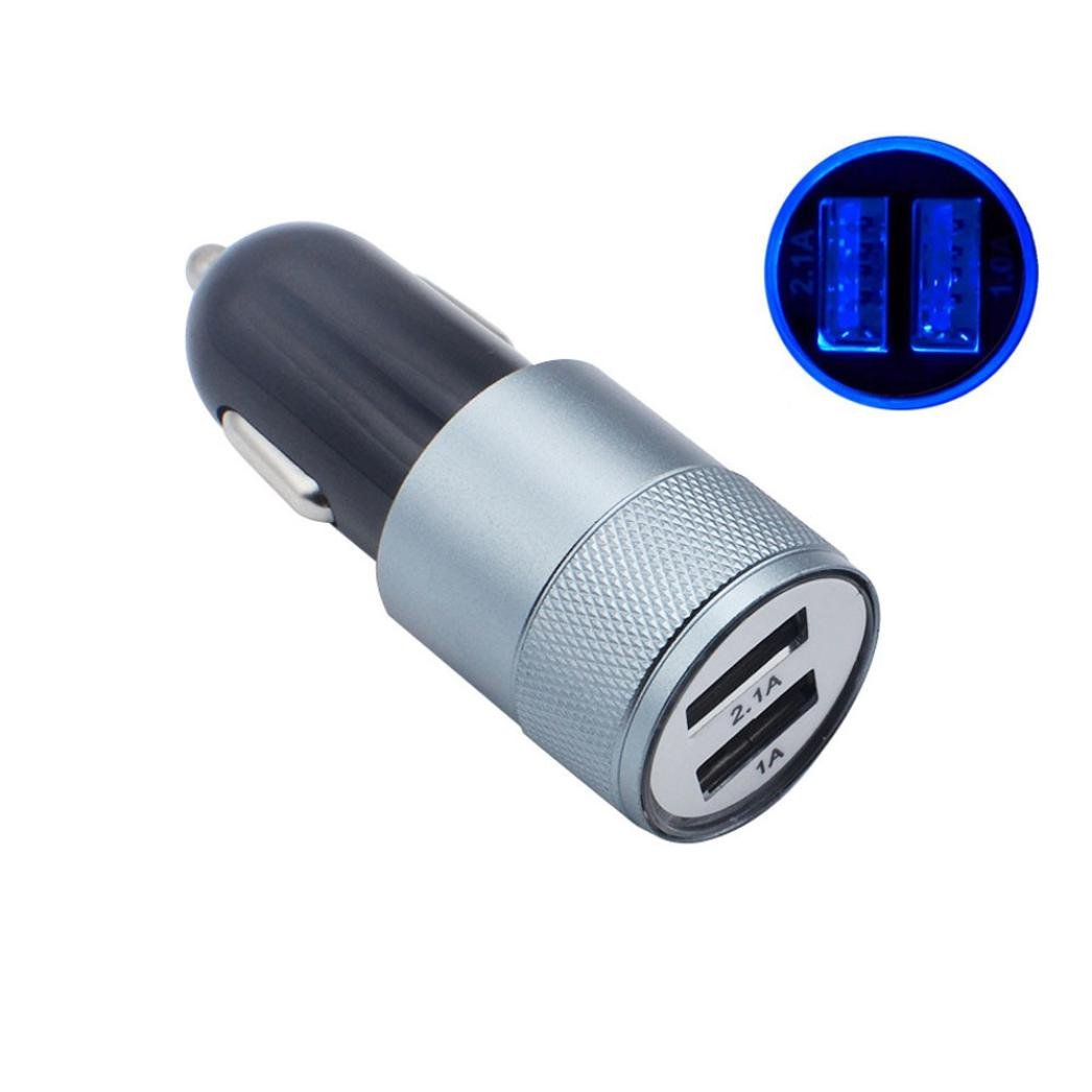 DEESEE(TM) NewNew 2-Port USB Universal Car Charger For iPhone6/6s/7 iPod/Ipad Samsung (Gray)