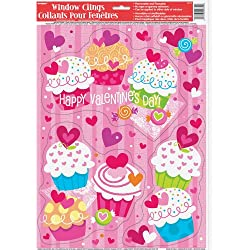 Cupcake Hearts Valentine's Day Window Cling Sheet