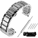 Beauty7 Brushed & Polished Two Tone Finish 18-24mm Stainless Steel Link Wrist Watch Band