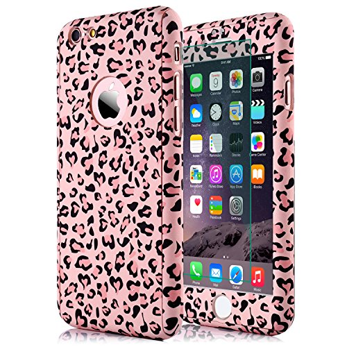 iphone 6S Plus Leopard Print Case,iphone 6 Plus Case,sxxissky Premium Ultra-thin Full Body Coverage Slim Hard Plastic[Tempered Glass Screen] Protective Case Cover for Apple iPhone6 Plus/6S Plus(Pink)