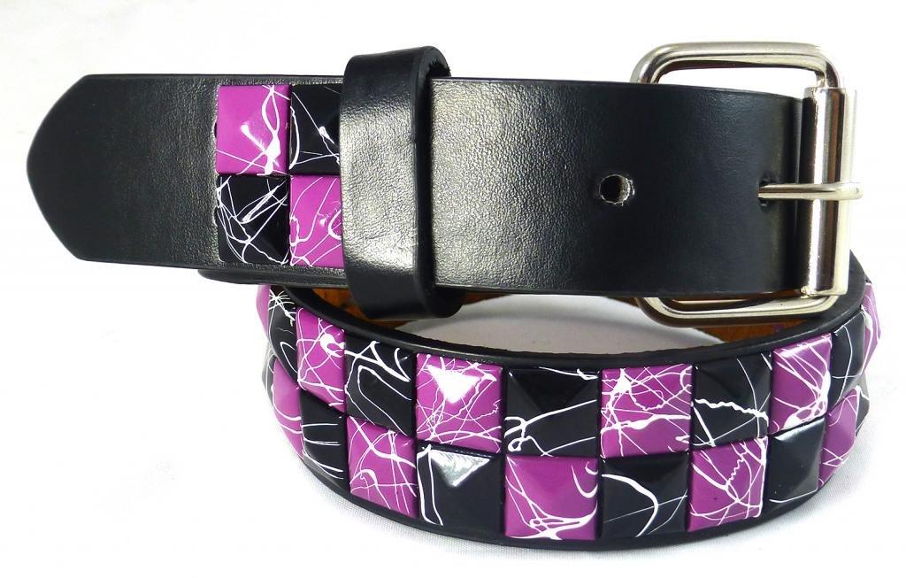 Nice Shades Studded Splatter Kids Belts Black/Purple Crack - L