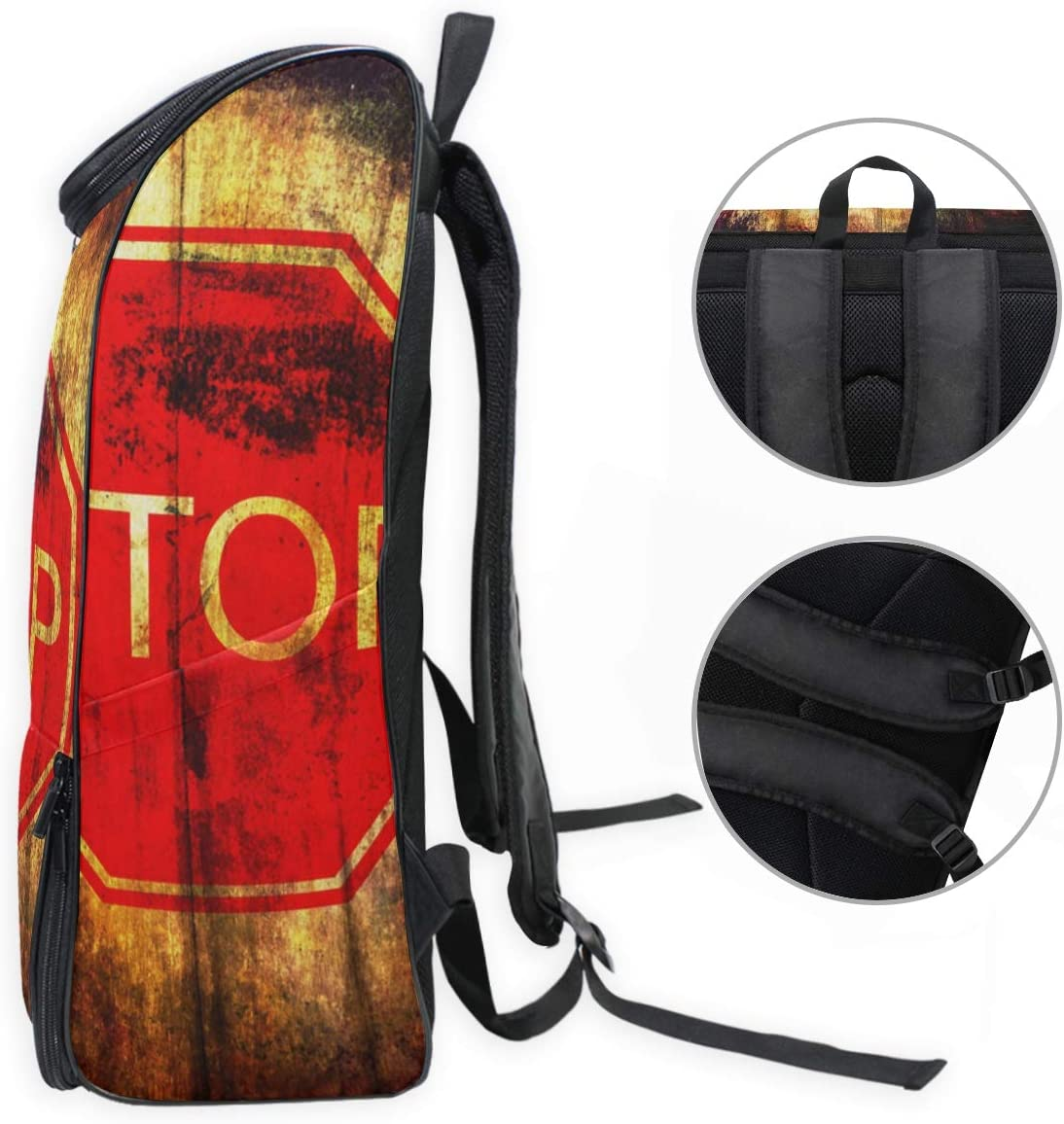 Anmarco Stop Sign On Grunge Wood Background Lightweight Packable Durable Travel Hiking Backpack Daypack for Women Men