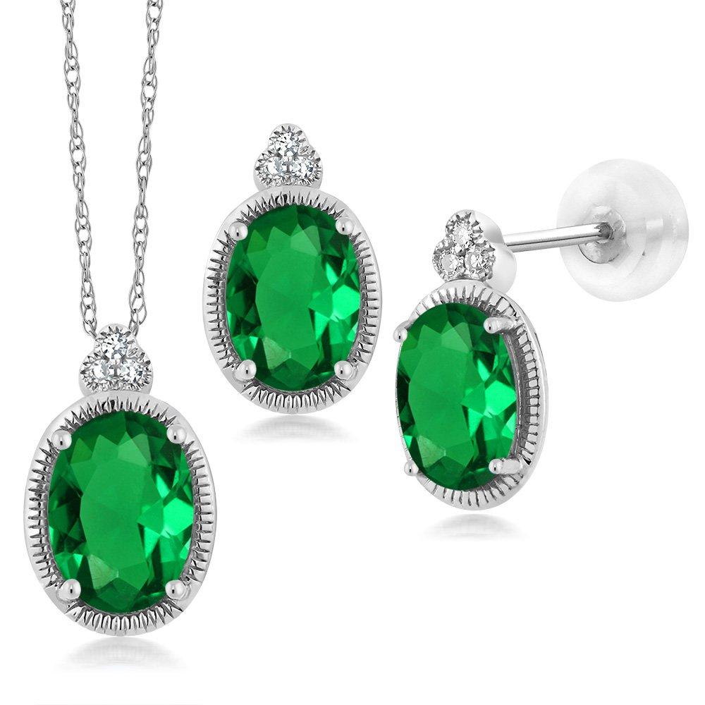 1.46 Ct Oval Green Simulated Emerald Diamond 10K White Gold Pendant Earrings Set