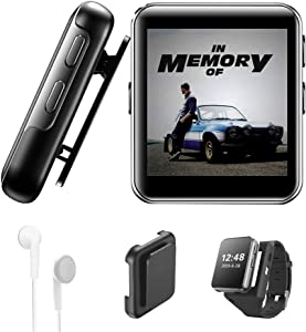 16GB Clip MP3 Player with Bluetooth, Sports Watch MP3 Player with Touch Screen, Mini MP3 Player with Headphones,Voice Recorder,E-Book,HiFi Lossless Sound...