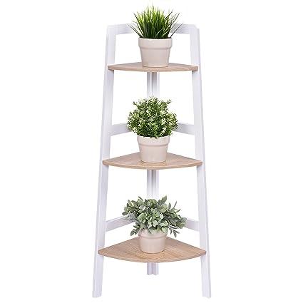 Giantex 3 Tier Corner Shelf Wood Bookshelf Flower Plant Rack Ladder Bookcase Home Living Room