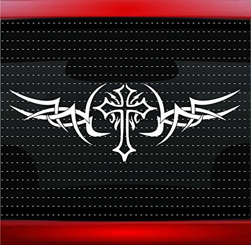 Cross Tribal #1 Christian Car Sticker Truck Window Vinyl Decal COLOR: BLACK ()