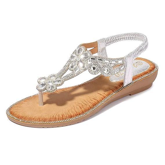 ABsolute Sandalias Sandalias Bohemia Mujer Planas de Cristal con Flores de Mujer Zapatos de Playa Casual para Mujer Sandalias de Gran tamaño para Mujer ...