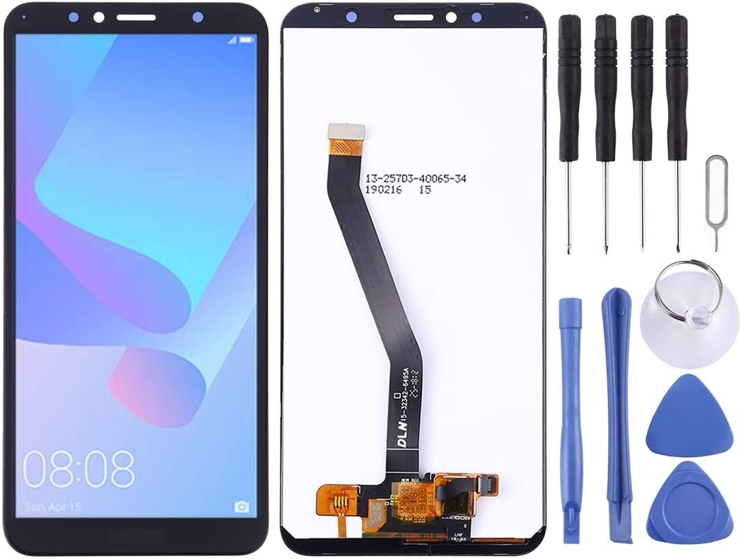 Color : White 2018 Black Smartillumi for LCD Screen and Digitizer Full Assembly for Huawei Y6 Prime