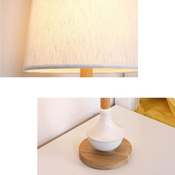 Amazon.com: HUACANG Modern Fashion Wooden Table Lamp, Simple Cloth Art Bedroom Bedside LED Light, Metal Adjustable Living Room Decorative Light (White + ...