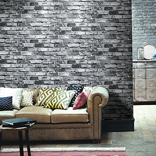 Red Faux Brick Wallpaper - HaokHome 69092 PVC Vinyl Retro Vintage Faux Brick Wallpaper Black for Home Bar Wall Decoration Wall Paper 20.8