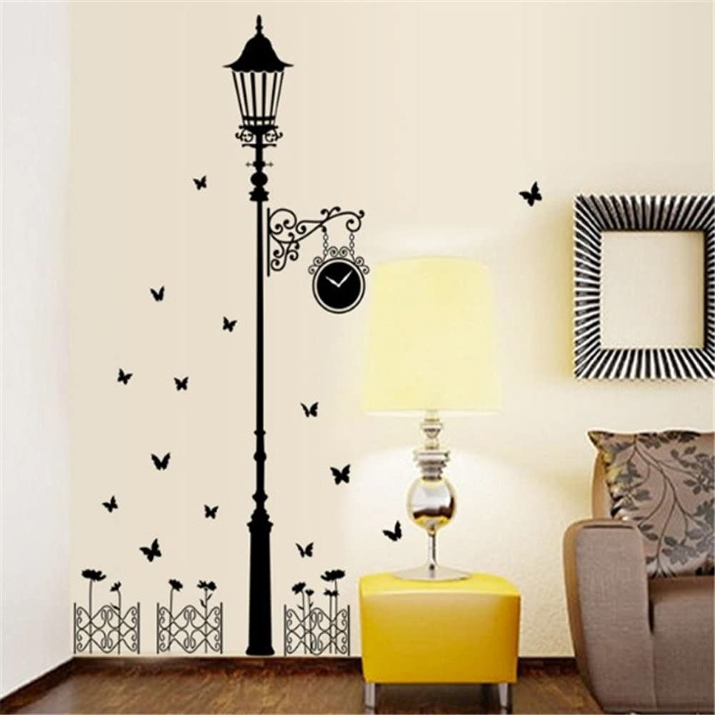 Wallpark European Style Simple Black Street Light Lamp & Butterfly Removable Wall Sticker Decal, Living Room Bedroom Home Decoration Adhesive DIY Art Wall Mural