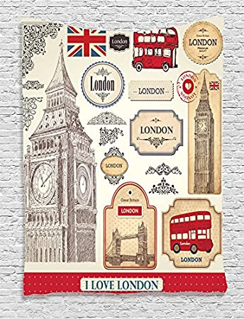 Attraktiv Ambesonne London Decor Kollektion, Design Von Herkömmlichen British  Eigenschaften Big Ben Bus Tower Bridge Und