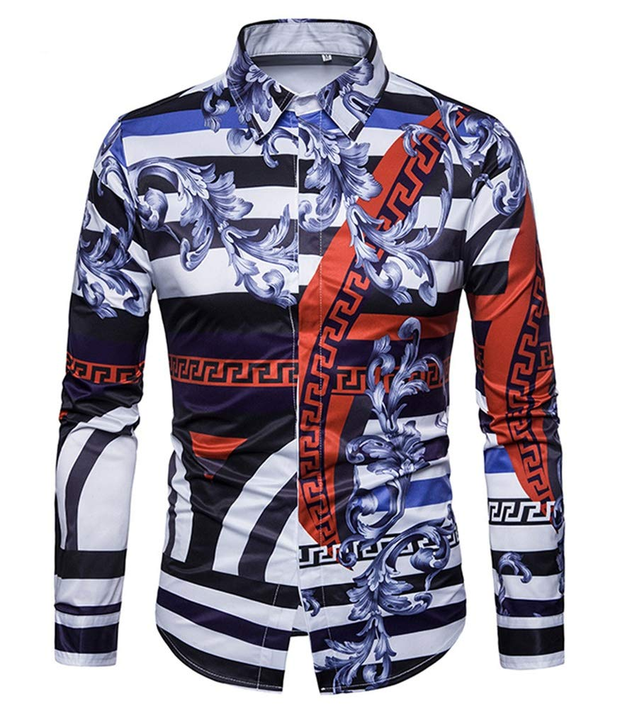 Versaces Men Shirt Leisure Palace Wind Digital Striped Print Long Sleeve Shirt Black Blue XL